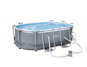 "Bestway 9'10"" x 6'6"" x 33"" Power Steel Oval Frame Above Ground Swimming Pool"
