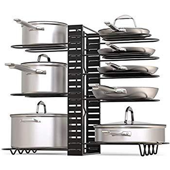 GeekDigg Pot Rack Organizer, 3 DIY Methods, Height and Position are Adjustable 8+ Pots Holder