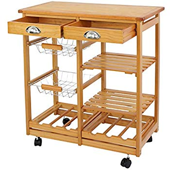 Nova Microdermabrasion Rolling Wood Kitchen Island Storage Trolley Utility Cart Rack