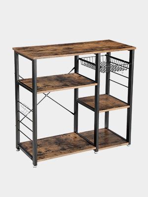 VASAGLE Industrial Kitchen Baker's Rack, Utility Storage Shelf, Microwave Oven Stand Metal Frame, Wire Basket 6 Hooks Mini Oven, Spices Utensils