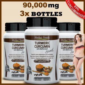 3 x TURMERIC CURCUMIN BIOPERINE PILL 95% TUMERIC EXTRACT CURCUMINOID ANTIOXIDANT