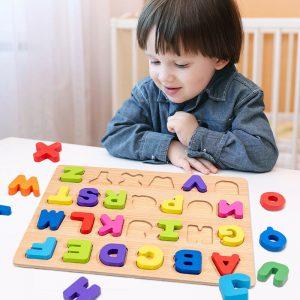木制字母数字拼图板用于幼儿早教早期学习玩具- 显示原刊登标题