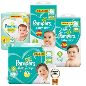 Pampers Premium & Baby-Dry Nappies 12 Hrs Giga and Jumbo Pack Sizes 2, 3, 5 & 6