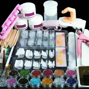 1 Set Acrylic Nail Kit Acrylic Powder Glitter Nail Art Manicure Tool Tips Brush