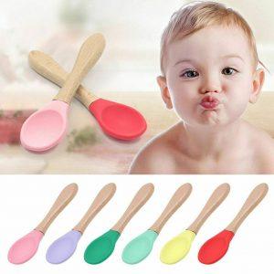 1/3pcs 婴儿竹纤维训练勺子有机柔软婴儿喂养硅胶尖端勺- 显示原刊登标题