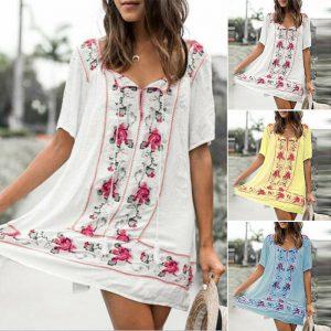 ZANZEA Women V Neck Floral Print Long Shirt Dress Summer Beach Mini Dress Plus