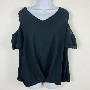 Womens Top Sz XL Black Short Sleeve Cold Shoulder Party Occasion Casual PK42