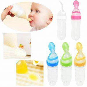 90ml 可爱安全婴儿婴儿硅胶喂食/W 勺喂食器食物米粉- 显示原刊登标题
