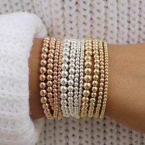 14k Gold Plated Beads Beaded Stackable Bracelets Women Bohemian 4mm 5mm 6mm 8mm